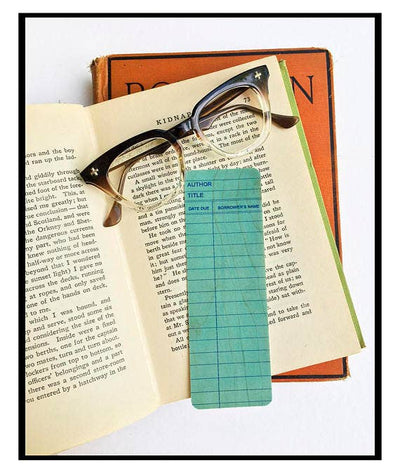 Library Card Bookmark - Blue
