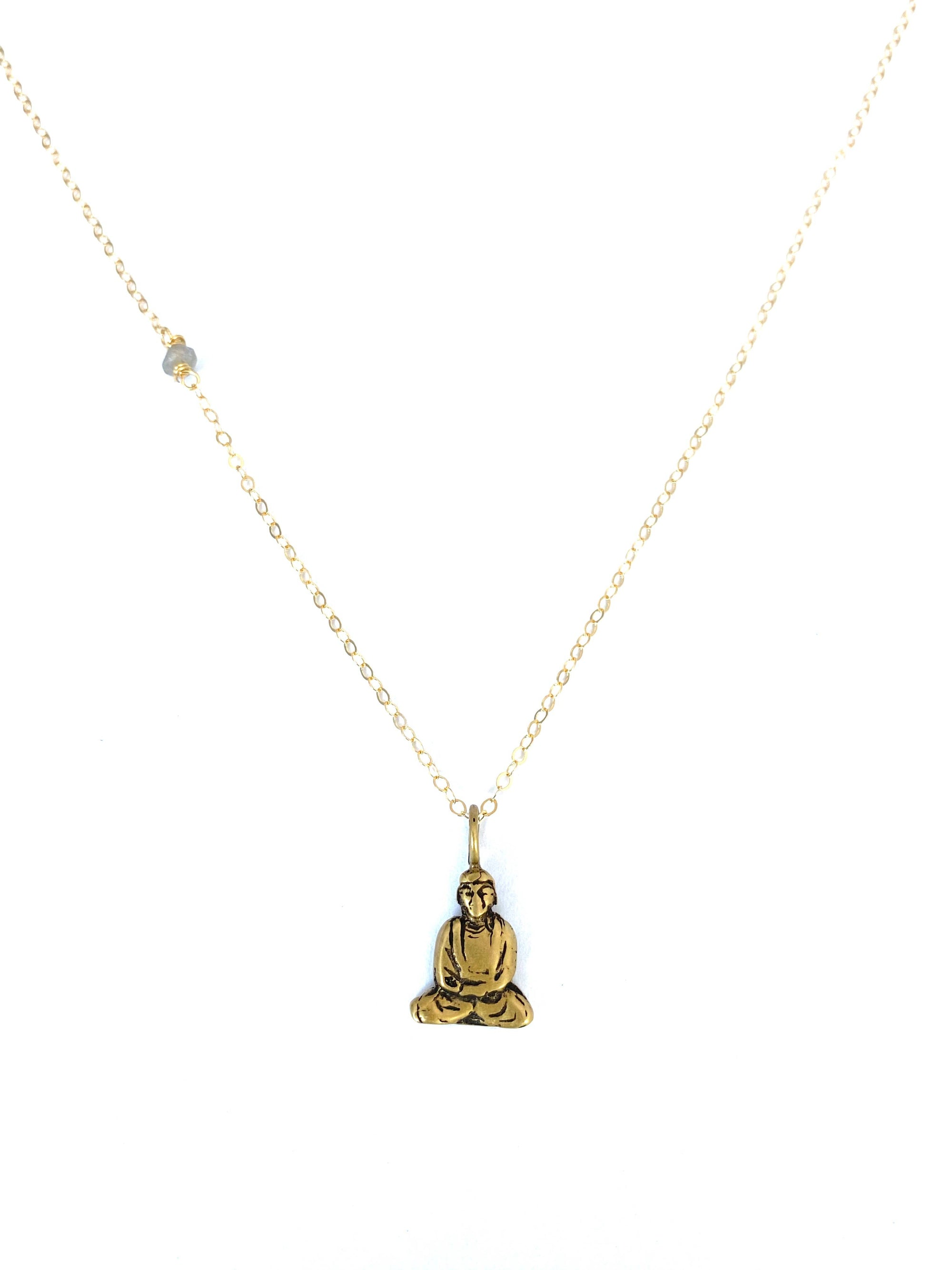 Bronze Buddha on Gold Fill Chain Necklace
