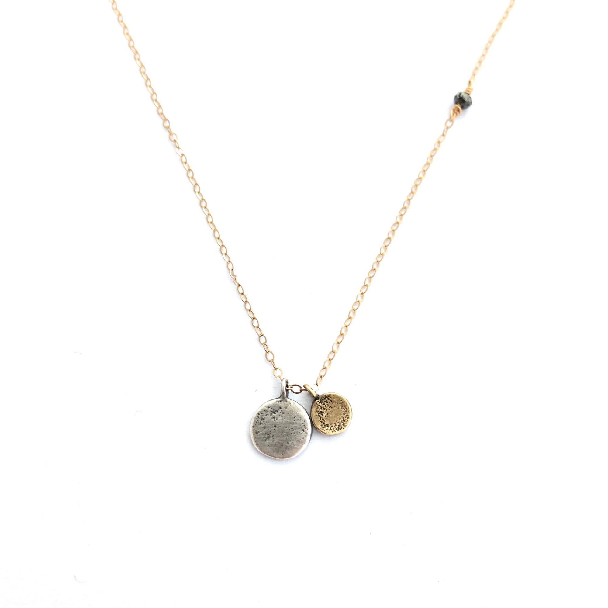 Gold and Silver Discs Necklace