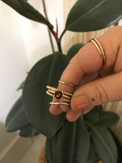 Tumble - Beaded Gold Stack Ring