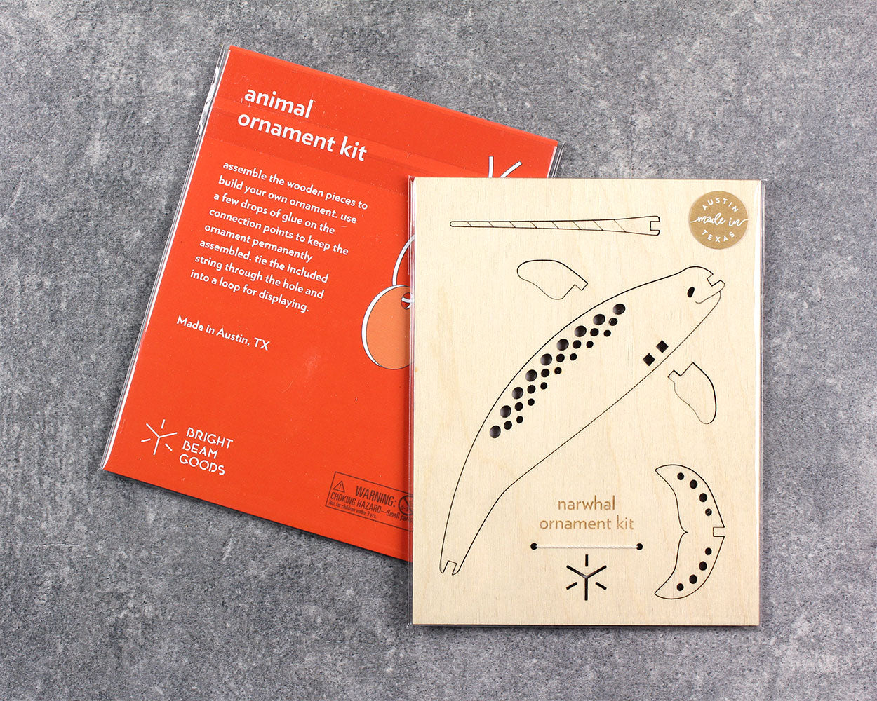 Flatpack Ornament Kit | Narwhal Ornament Bright Beam Goods - Stash Co