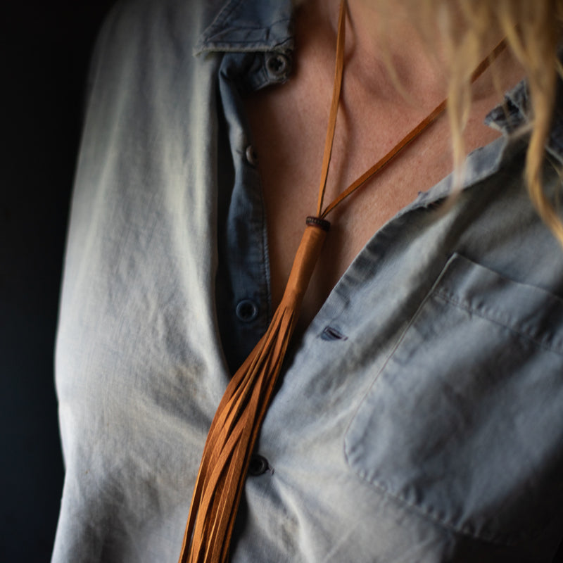 Fringe Mala Necklace | Caramel Deerskin Necklace Stash - Stash Co