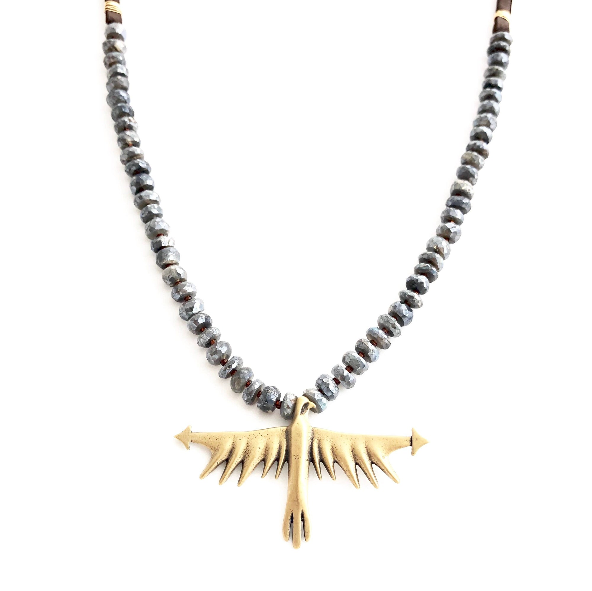 Bronze Thunderbird on Mystic Labradorite and Leather Necklac