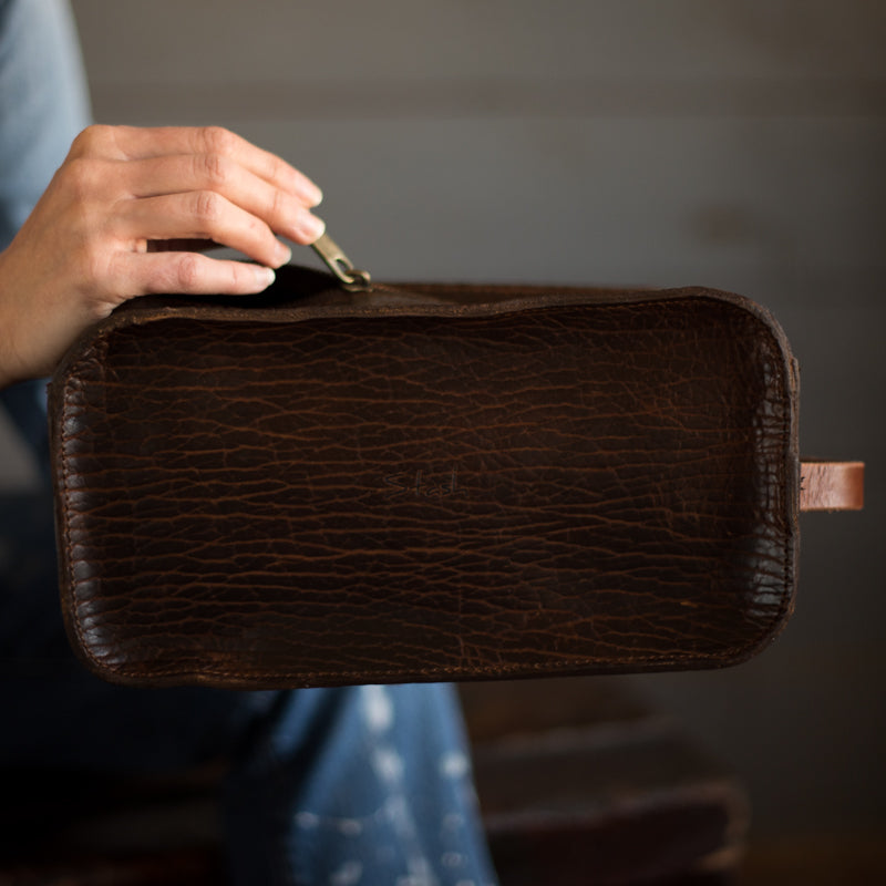 Dopp Kit | Cognac Bison Dopp Kit Stash - Stash Co