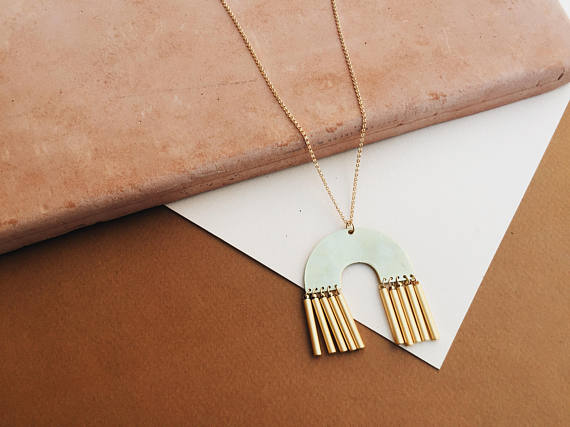 Gold Filled Long Geometric Necklace