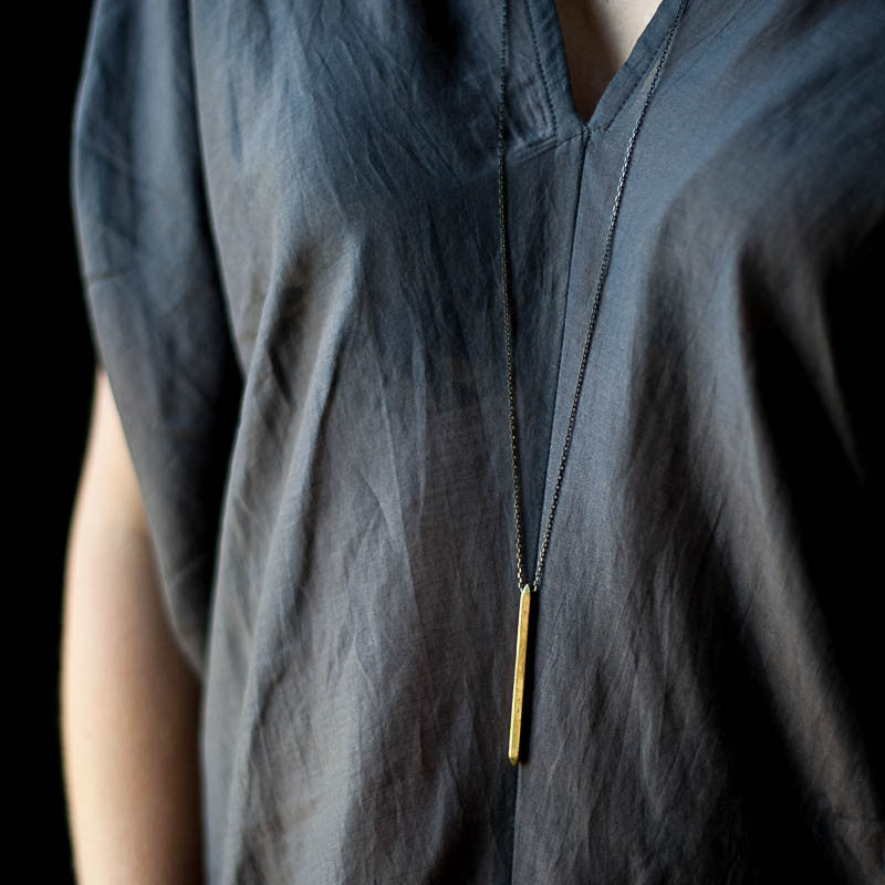 Brass Spike Necklace | Black Chain Necklace Ester Gamez - Stash Co