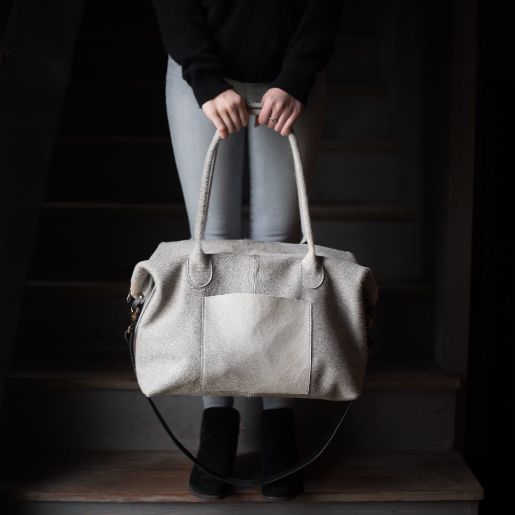 Transit Duffle | Gray Ombre Hair Hide