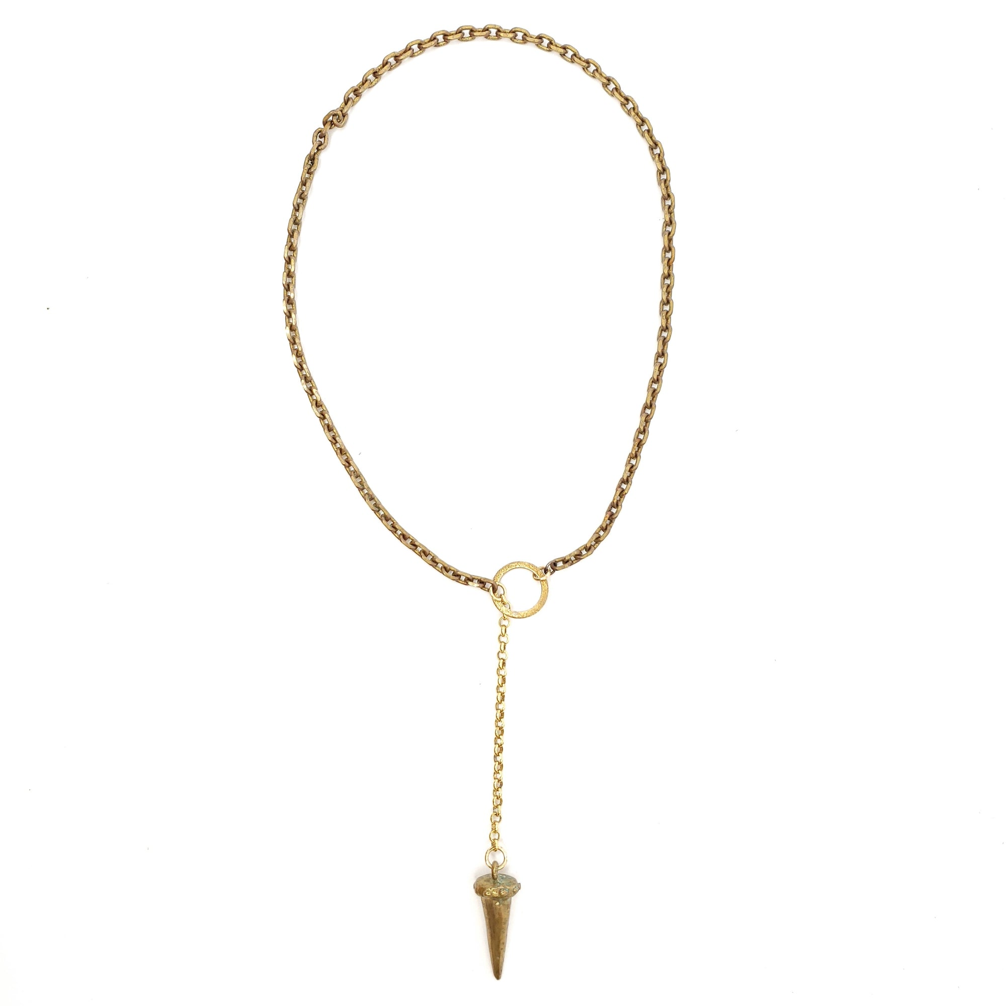 Spike with gold chain Lariat