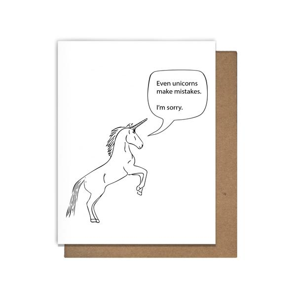 Unicorn Mistakes Apology Card Greeting Card Matt Butler - Stash Co