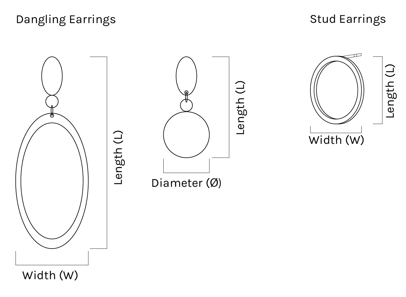 A KIND OOOF | Earring Dimensions