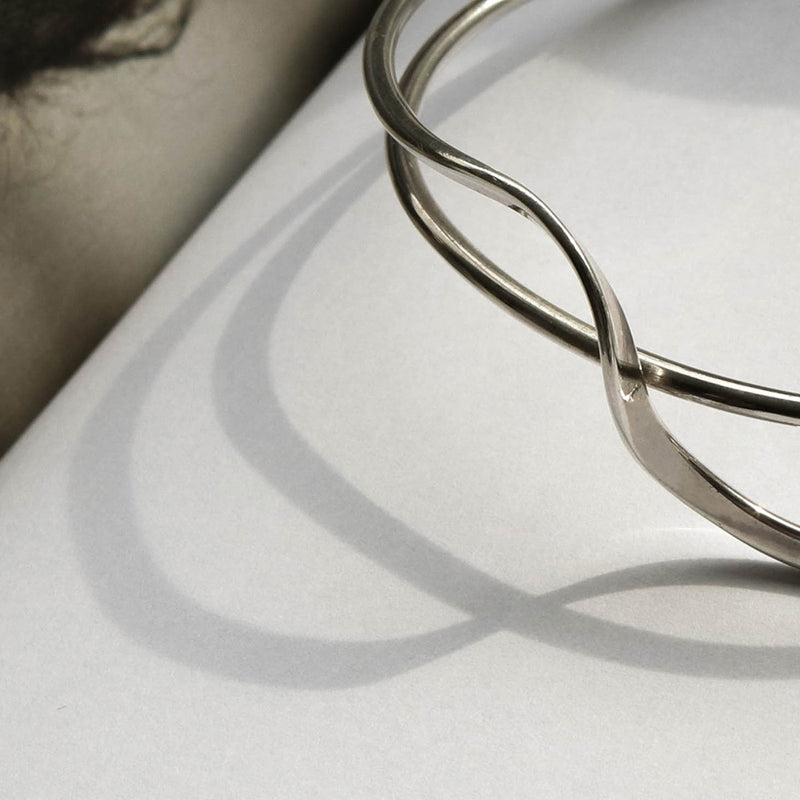 925 Wavy Curve Open Bangle