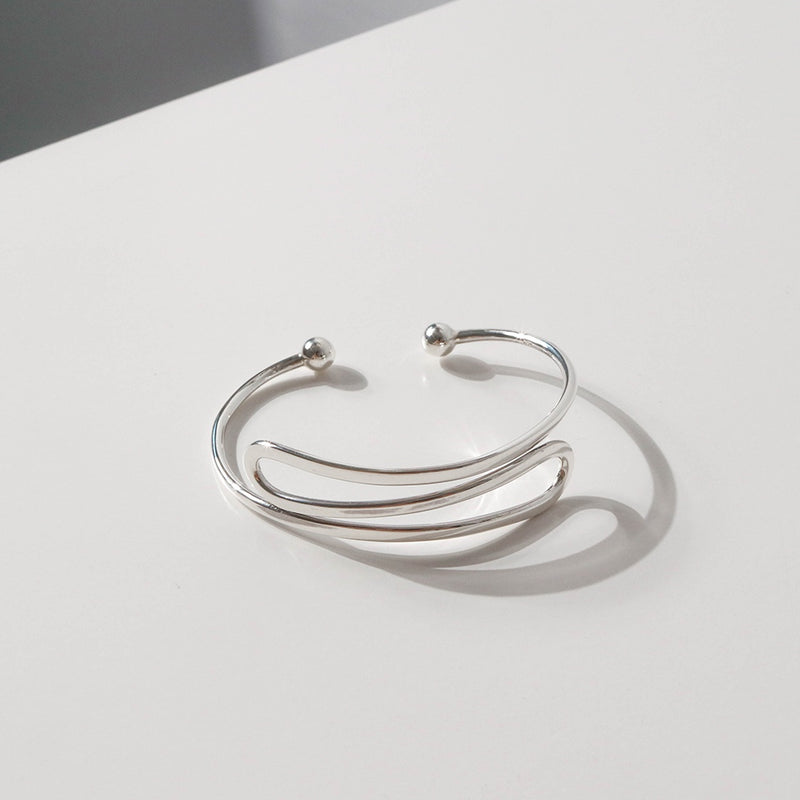 925 Silver Curve Fold Open Bangle | A KIND OOOF