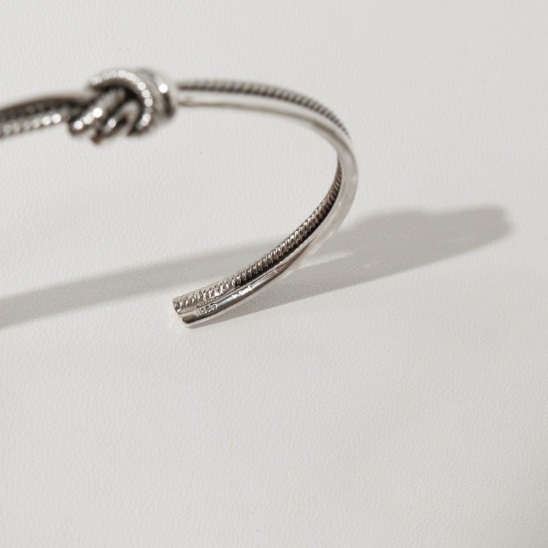 925 |Handcrafted| Double Row Knot Cuff Bangle