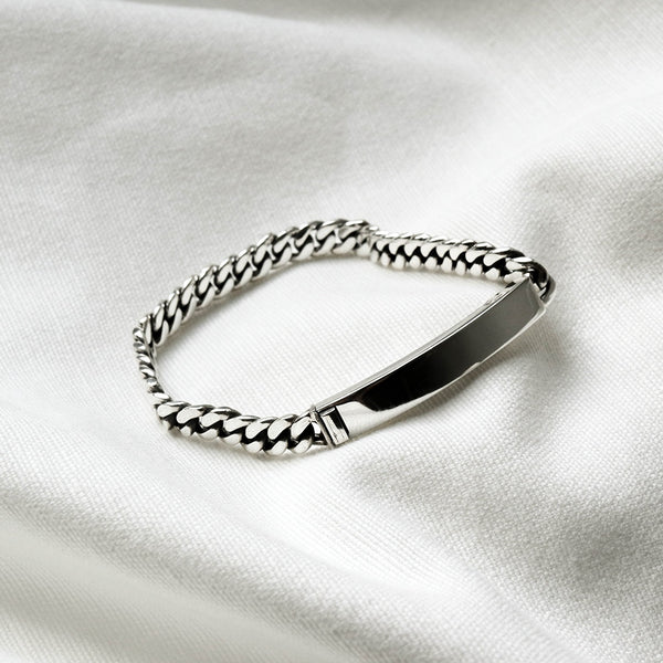 925 |Handcrafted| Flat Link Chain Bracelet with Blank