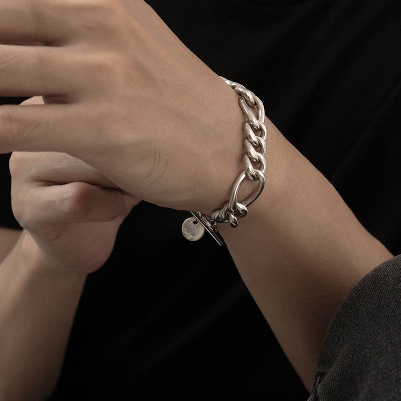 925 Handcrafted Figaro Chain Mens Bracelet | Men's Jewellery | A KIND OOOF