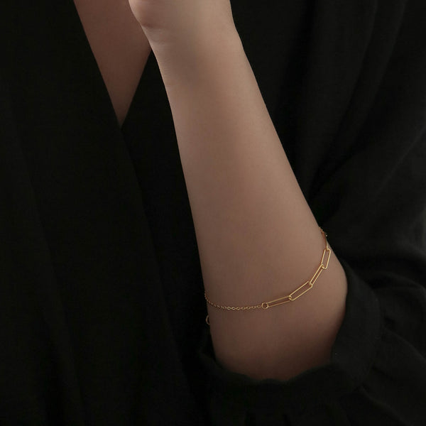 925 Handcrafted Irregular Duo Cable Chain Bracelet | A KIND OOOF