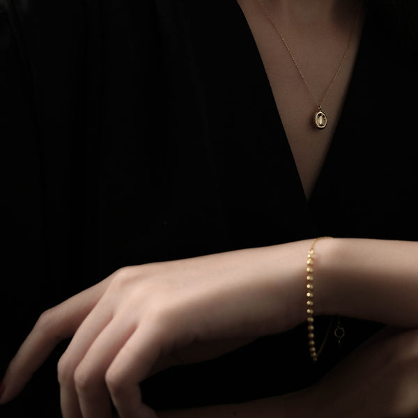 925 |Handcrafted| Beads and Cable Chain Bracelet, Gold Vermeil