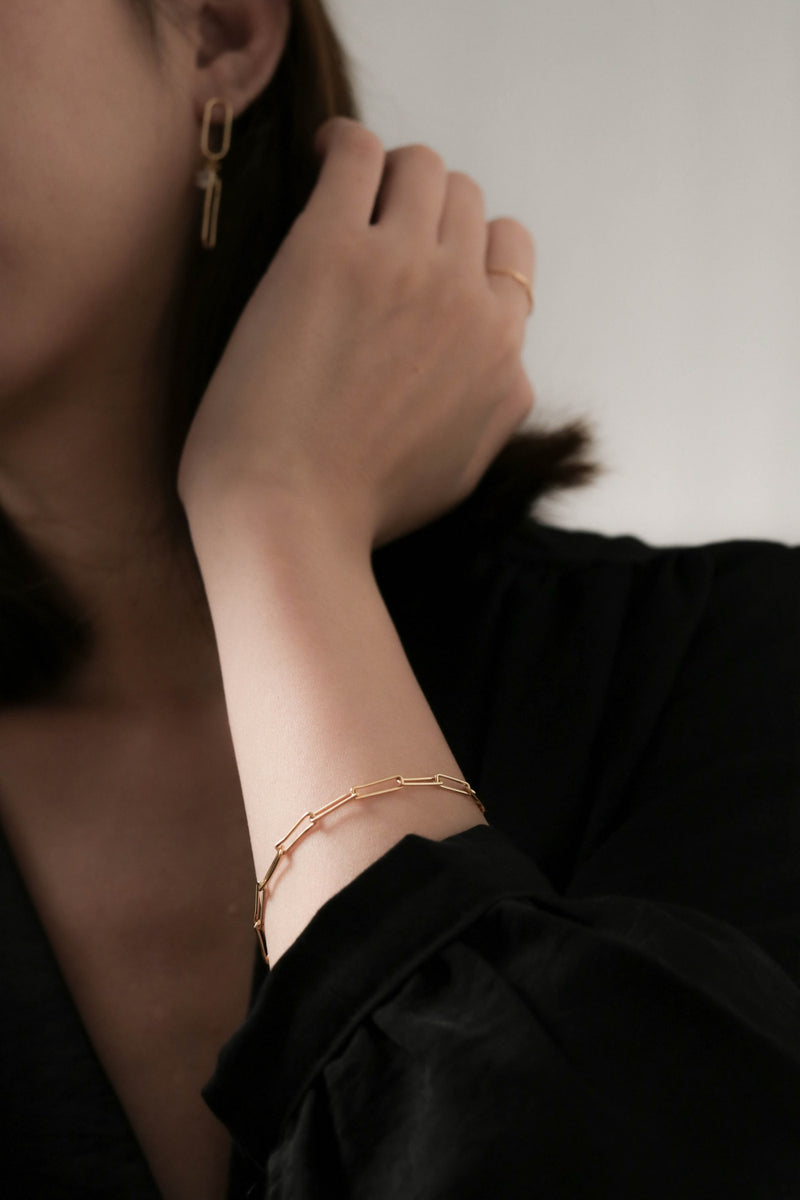 925 |Handcrafted| Irregular Cable Chain Bracelet, Gold Vermeil