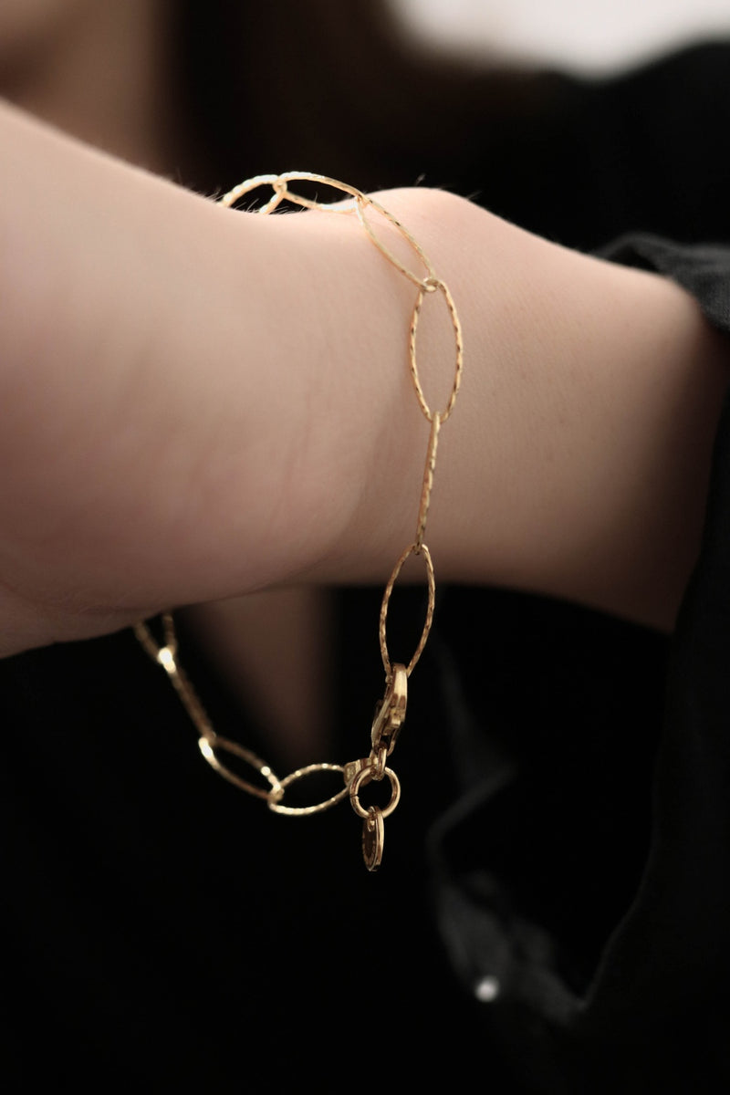 925 |Italy| Handcrafted Diamond Cut Oval Chain Bracelet, 14K Gold Vermeil