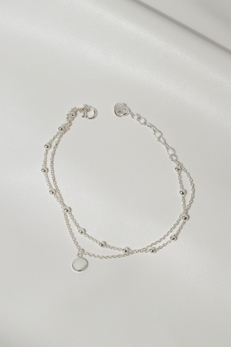 925 |Handcrafted| Duo Chain Layered Bracelet with Round Blank