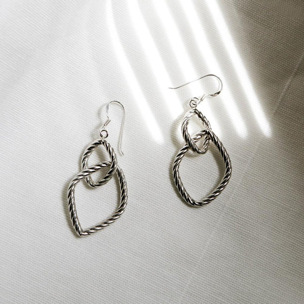 925 Silver Drop Interlink Spiral Rope Earrings | A KIND OOOF