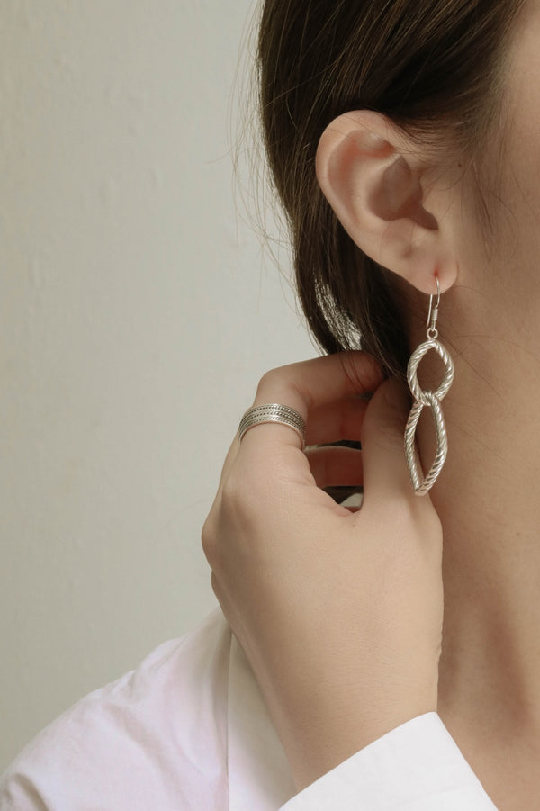 925 Drop Interlink Spiral Rope Earrings