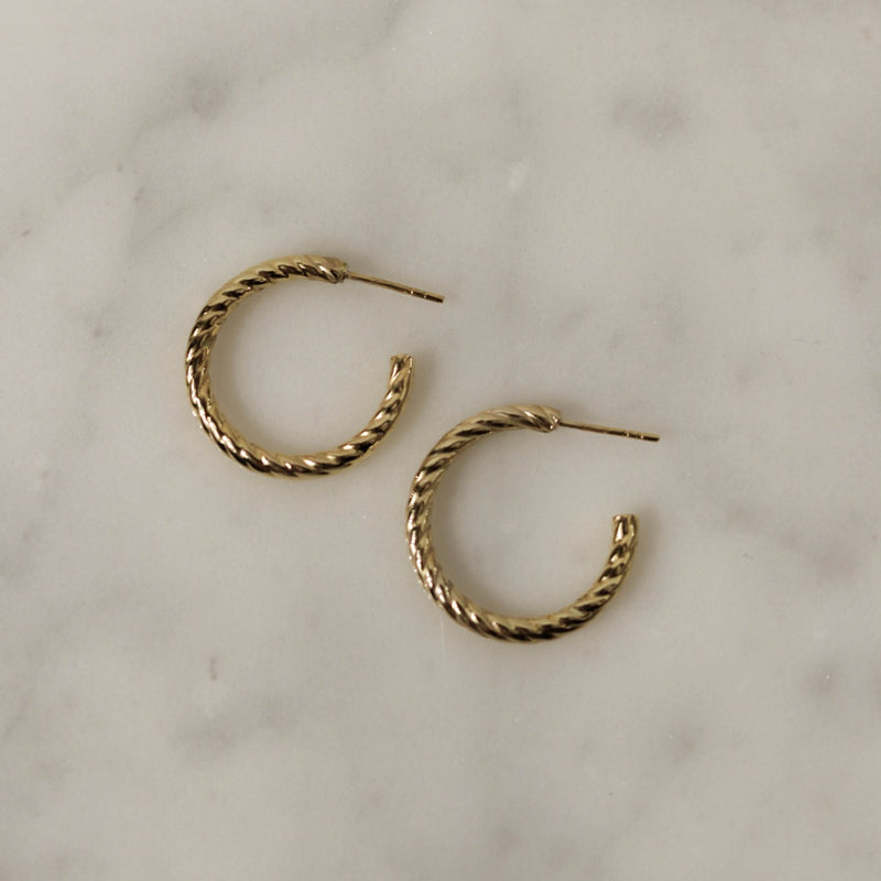 925 Classic Spiral Rope Crescent Earrings, 14K Gold Vermeil