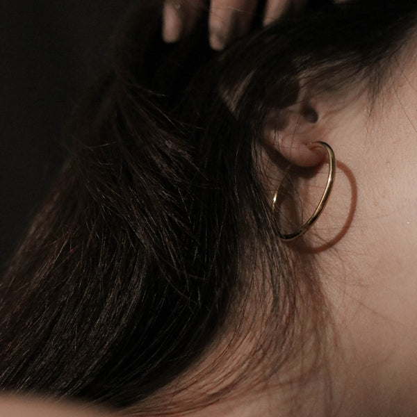 925 |Handcrafted| Fine Round Hoop Earrings, 14K Gold Vermeil