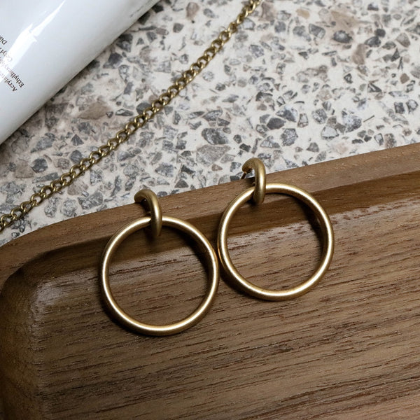 Round Hoop Dangling Stud Earrings