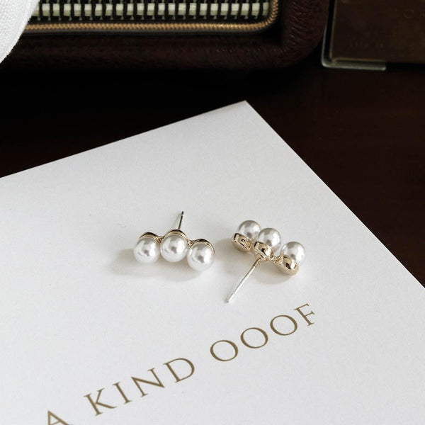 Trio Pearl Stud Earrings