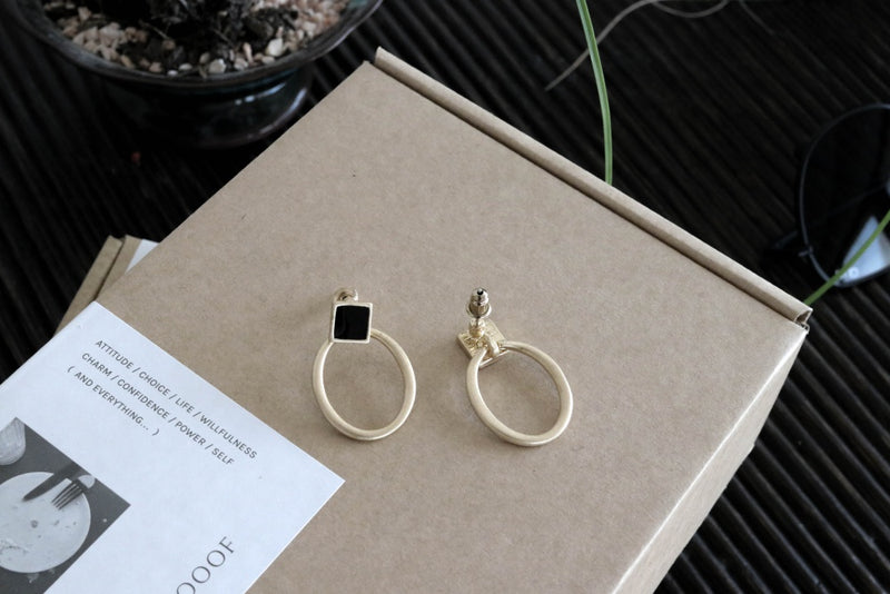 Square Stud with Oval Earrings