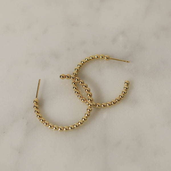 925 |Handcrafted| Crescent Shaped Beads Earrings, 14K Gold Vermeil