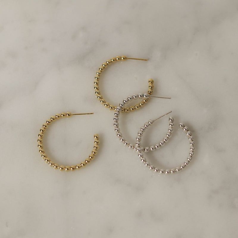 925 |Handcrafted| Crescent Shaped Beads Earrings