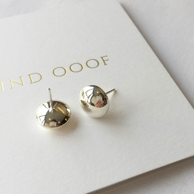 925 Chubby Round & Oval Stud Earrings