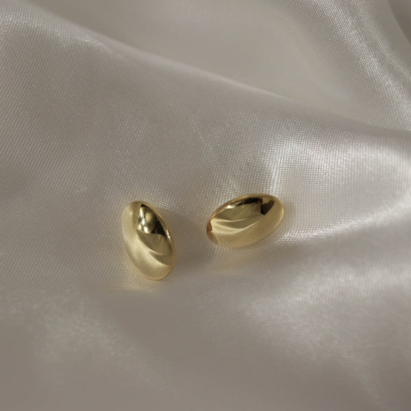 925 Chubby Oval Stud Earrings, 14K Gold Vermeil