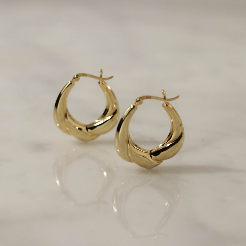 925 Croissant Form Earrings, 14K Gold Vermeil