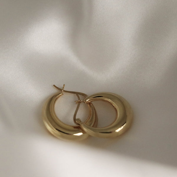 925 Chubby Round Earrings, 14K Gold Vermeil