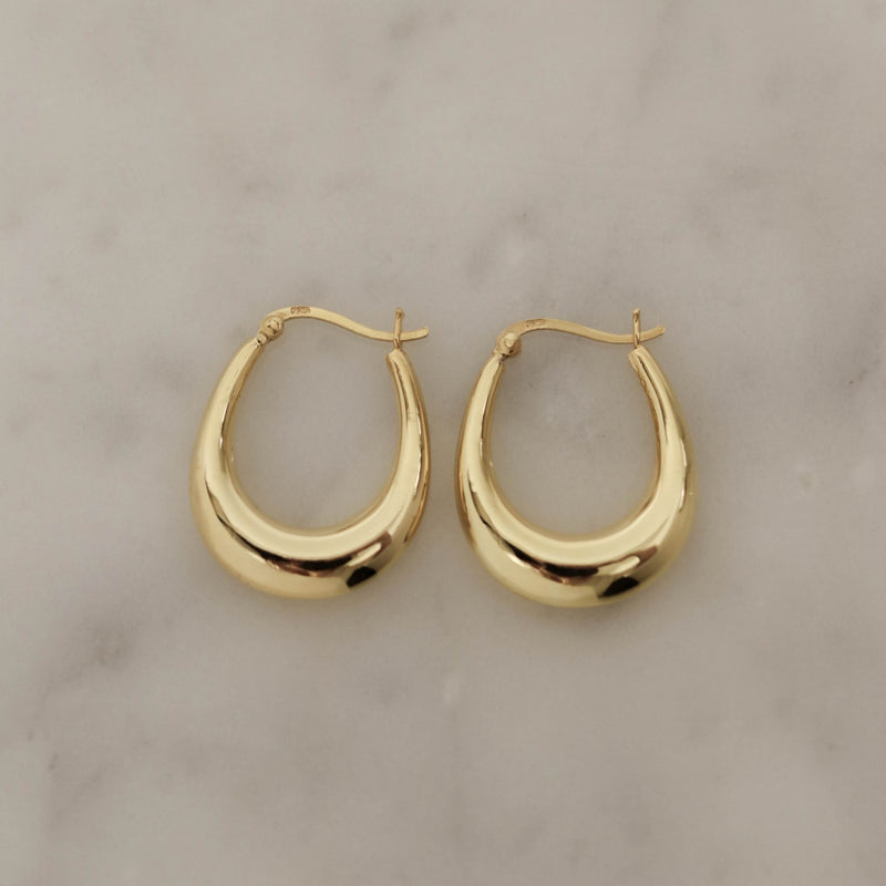 925 Chubby Stretched Earrings, 14K Gold Vermeil