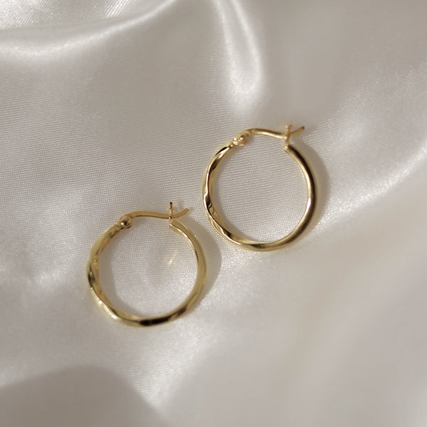 925 Half Twist Earrings, 14K Gold Vermeil