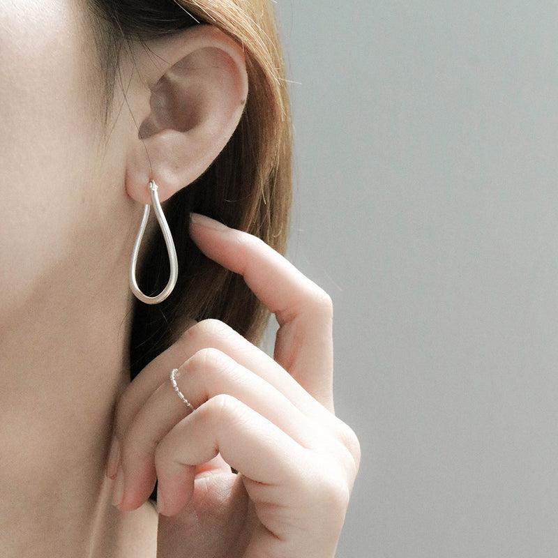 925 Irregular Oval Shape Earrings