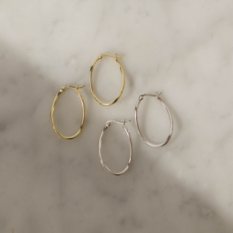 925 Irregular Oval Shape Earrings, 14K Gold Vermeil