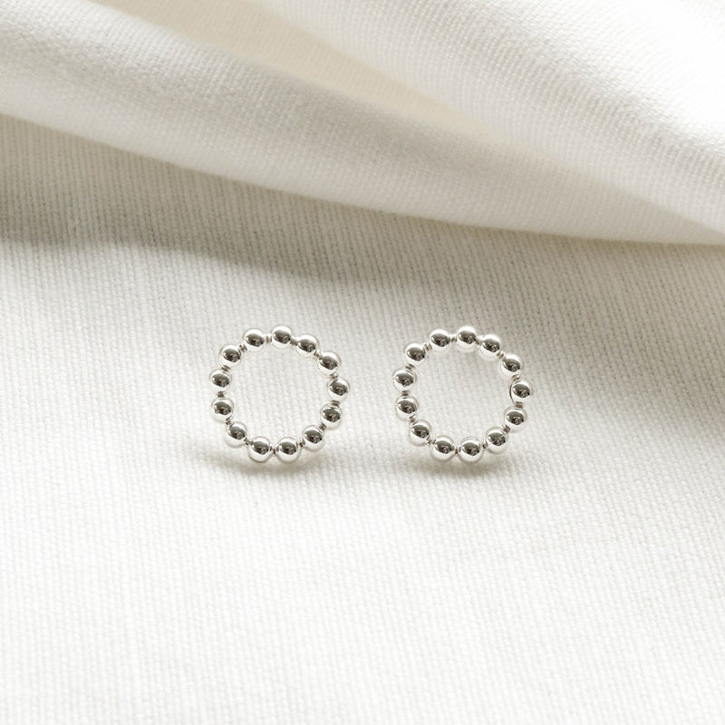925 |Handcrafted| Circle Beads Earrings