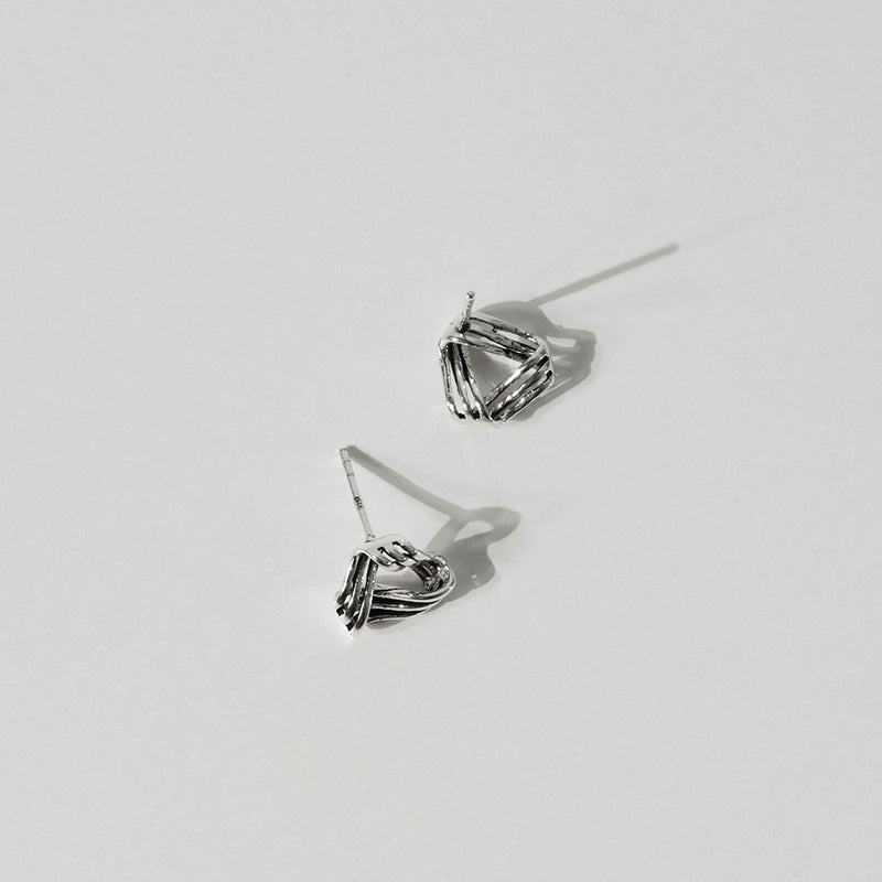 925 |Handcrafted| Mobius Triangle Earrings