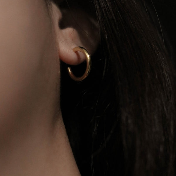 925 Mini Minimalist Trend Earrings, 14K Gold Vermeil