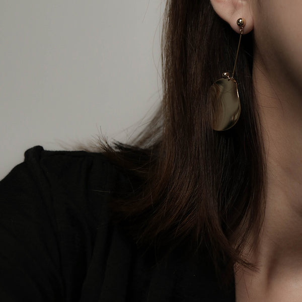 Irregular Round Plate Drop Earrings | A KIND OOOF