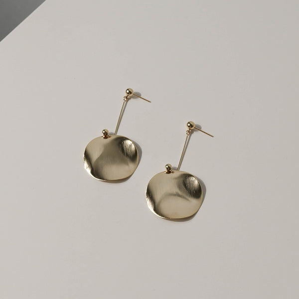 Irregular Round Plate Drop Earrings