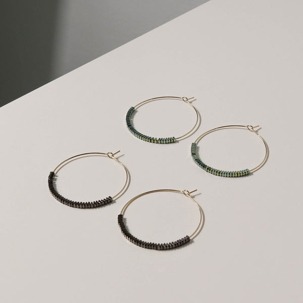 Handcrafted Wire Hoop Earrings with Geometric Square Beads | A KIND OOOF