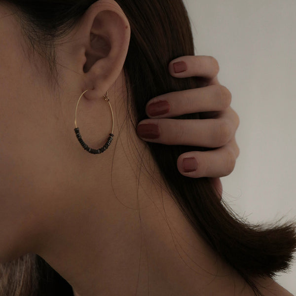Handcrafted Wire Hoop Earrings with Geometric Square Beads