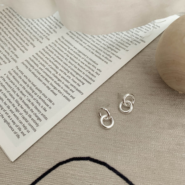 925 Silver Handcrafted Circle Link Earrings
