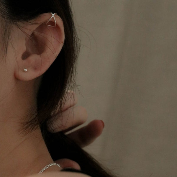 925 Handcrafted Silver Crisscross Ear Cuff